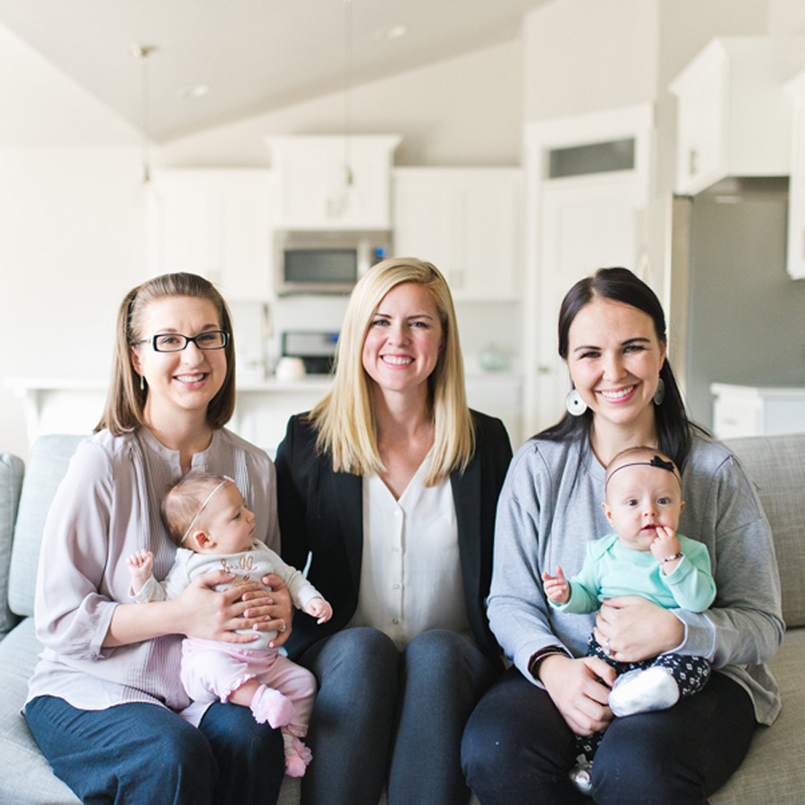 lactation consultant with two moms