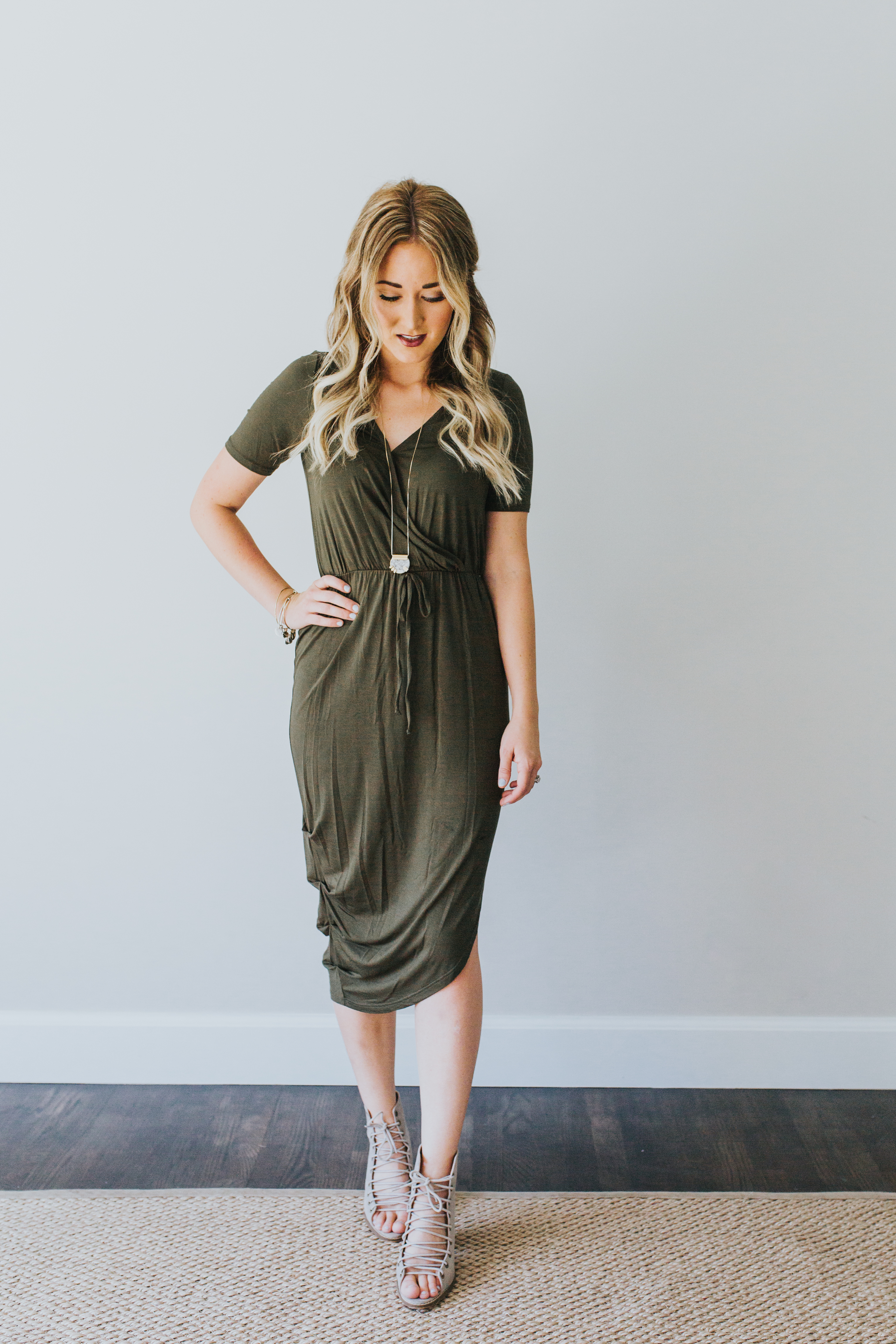 a-line dress in olive